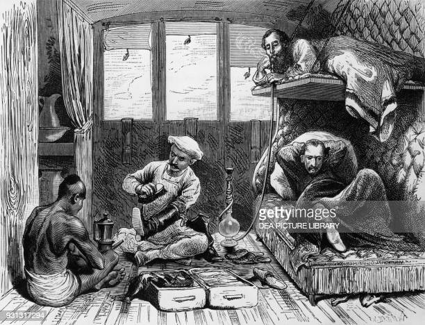 Passengers in the compartment of an East Indian train, Bengal, India, engraving from India: Travel in Central India and Bengal, Louis Rousselet ,...