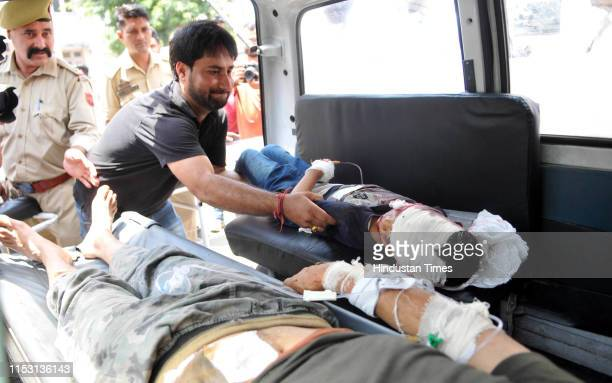 Passengers injured in Kishtwar road accident are being shifted to the Government Medical College Hospital for treatment on July 1 2019 in Jammu India...