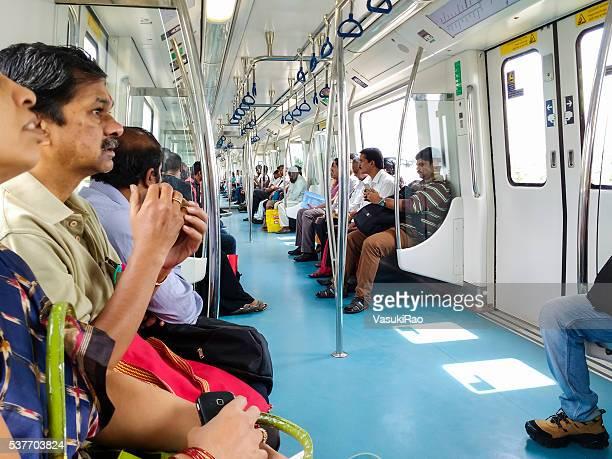 Passengers inside Bangalore Metro, India