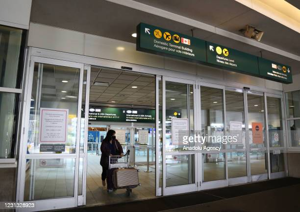 Passengers leave after taking the COVID-19 test at Vancouver International Airport in Vancouver, British Columbia, Canada on February 22, 2021....