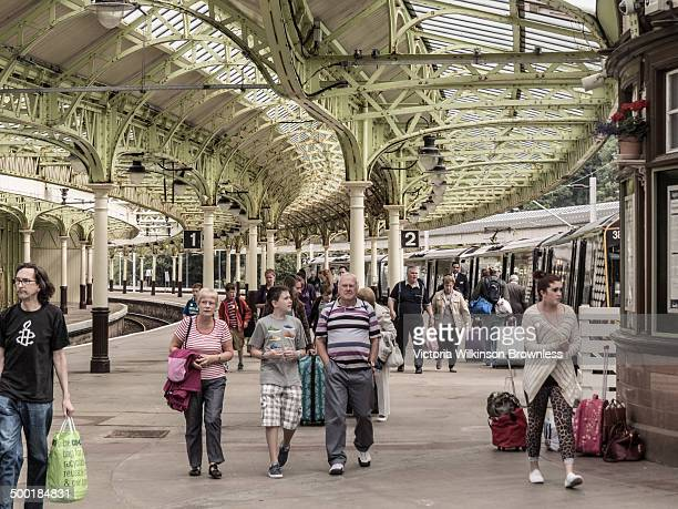CONTENT] Passengers leaving train Victorian train station at Weymss Bay and sailing point for the Calmac ferry over to Rothesay on Bute Taken July...