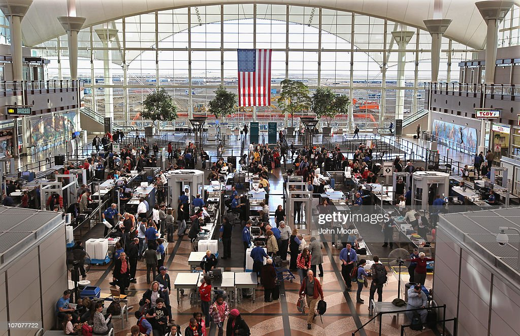 Passengers move through a main security checkpoint at the Denver International Airport on November 22, 2010 in Denver, Colorado. The TSA is bracing for heavy traffic the day before Thanksgiving, as two separate internet campaigns are promoting a 'National Opt-Out Day' protest during which travelers are urged to 'opt out' of the new body scanners because of concerns over privacy and possible exposure to radiation. Those passengers who refuse the scans must instead undergo an enhanced pat down by TSA agents, which could further slow down security lines on the busiest air travel day of the year.