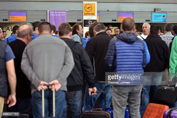 Passengers of the German airline Lufthansa wait at terminal 1 at Frankfurt Airport during an strike over salaries at Frankfurt and Dusseldorf...