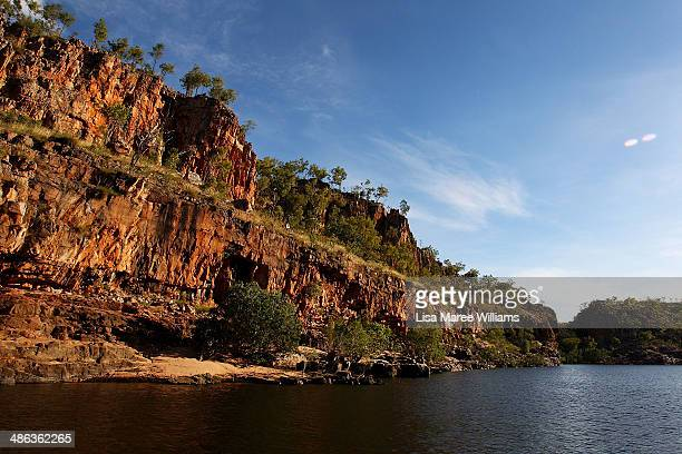 Passengers of the Ghan ANZAC Tribute train take a river cruise along Katherine Gorge Nitmiluk National Park on April 23 2014 in Darwin Australia The...