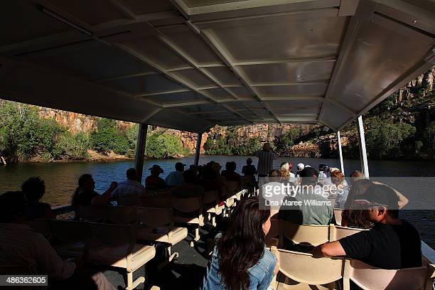 Passengers of the Ghan ANZAC Tribute train take a river cruise along Katherine Gorge Nitmiluk National Park on April 23 2014 in Katherine Australia...