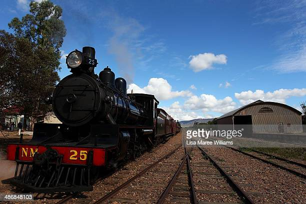 Passengers of The Ghan arrive at Quorn following a day trip on the Pichi Richi steam train through the Flinders Ranges on April 26 2014 in Quorn...
