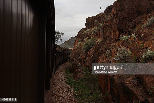Passengers of The Ghan take a day trip on the Pichi Richi steam train through the Flinders Ranges on April 26 2014 in Port Augusta Australia The Ghan...
