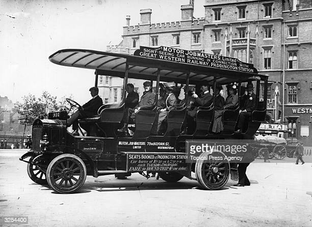 Passengers on board one of Great Western Railway's sightseeing motor buses which took tourists round London from Paddington Station