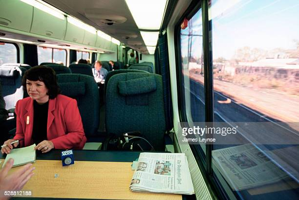 Passengers on board the trial run of the Acela express from Washington DC to Boston