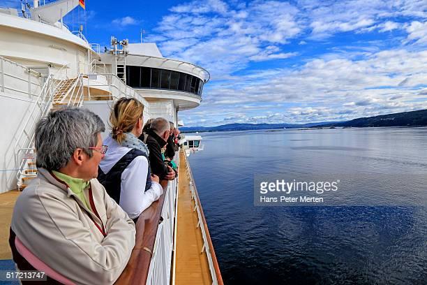 passengers on ferry ship, Oslofjord, Norway