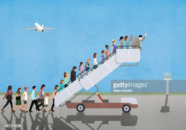 passengers on mobile stairs on empty tarmac at airport - failure stock photos and pictures