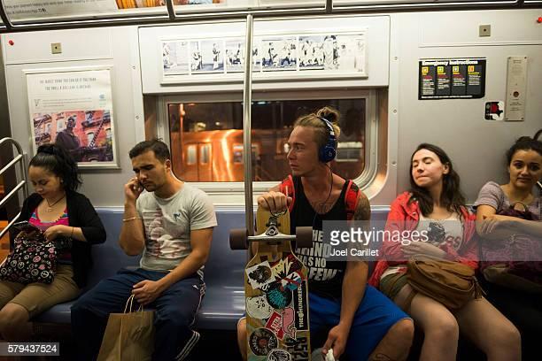 Passengers on New York City subway