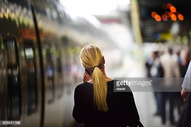 Passengers on subway/train station platform