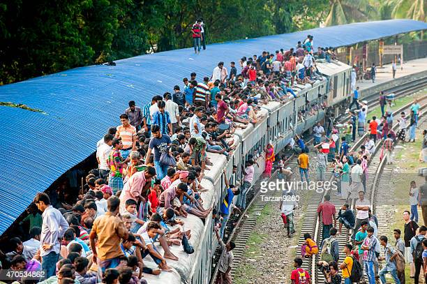 Passengers on the roof of train, Dhaka, Bangladesh