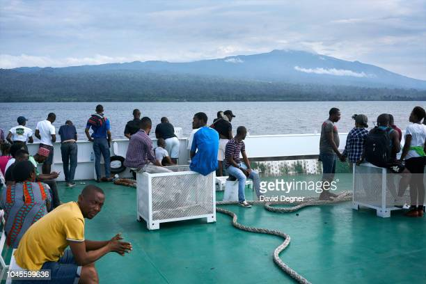 August 19: Passengers on the San Valentine Ferry on August 19, 2018 in Malabo, Equatorial Guinea. Pico Basilé , located on the island of Bioko can be...