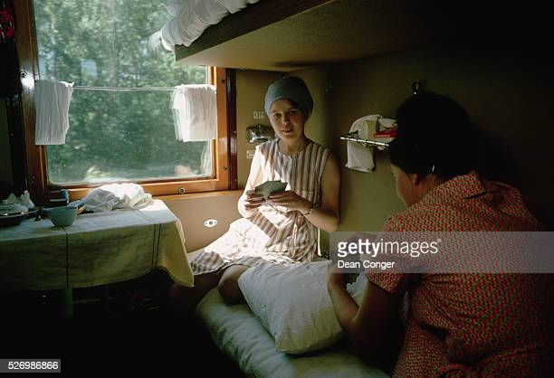 Passengers Play Cards in a Compartment on the TransSiberian Railway