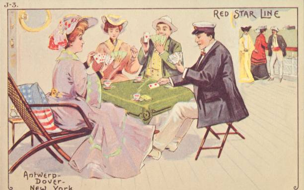 Passengers play cards on the deck of a Red Star liner, 1907. People enjoy a game of Bridge on board an ocean liner on a transatlantic crossing. The...