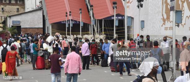 Passengers queue at Patna Junction on June 28 2020 in Patna India