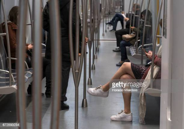 Passengers ride the Metro on April 22 2017 in Amsterdam Netherlands The city's Metro system was first introduced in 1977 It is a fast way of getting...