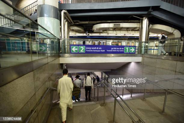 Passengers seen inside a metro station as the metro resumed its services during Unlock 4 at Rajiv Chowk metro station on September 14 2020 in New...