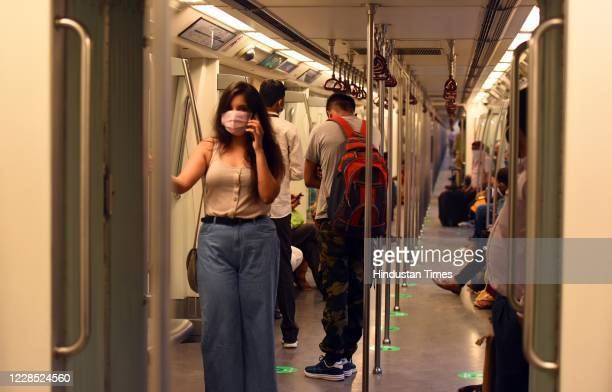A passengers travel in a metro train after the metro resumed its services during Unlock 4 on September 14 2020 in New Delhi India