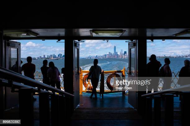 Passengers travel on the Staten Island Ferry in New York City