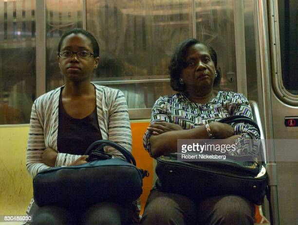 Passengers travel to work on the New York City subway August 7 2017 in the Brooklyn borough of New York City The New York subway system faces a...
