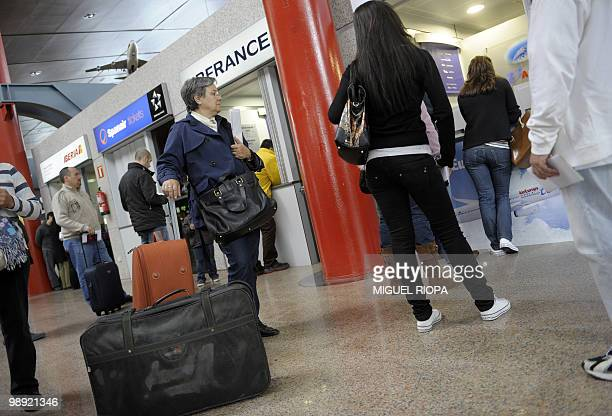 Passengers wait after flights were cancelled from the Peinador airport in Vigo northwestern Spain on May 8 2010 Fifteen airports in northern Spain...