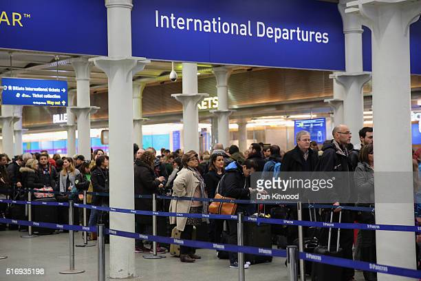 Passengers wait at the entrance to the Eurostar at St Pancras Station on March 22 2016 in London England Journeys to Brussels were disrupted and to...