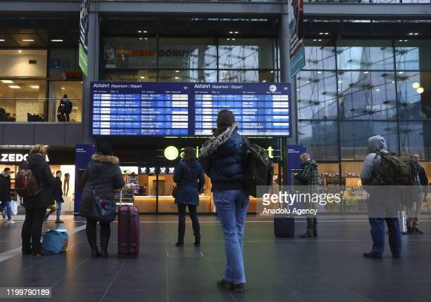 Passengers wait because of the forecasted heavy storm 'Sabine' at Berlin Central Train Station on February 10, 2020 in Berlin, Germany. Germany...