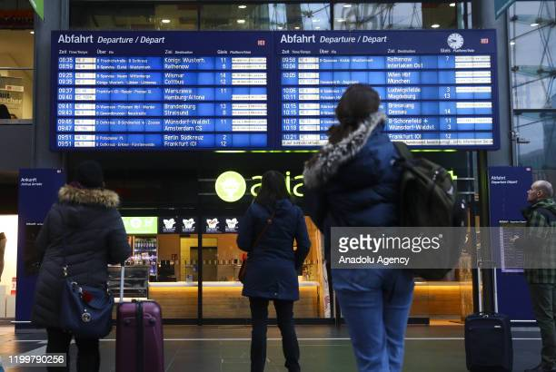 Passengers wait because of the forecasted heavy storm 'Sabine' at Berlin Central Train Station on February 10 2020 in Berlin Germany Germany hunkered...