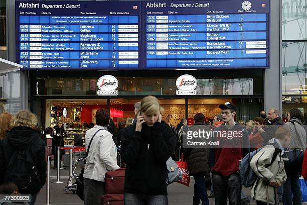 Passengers wait for a train at Hauptbahnhof train station during a nationwide strike of the German locomotive drivers union the GDL of local and...
