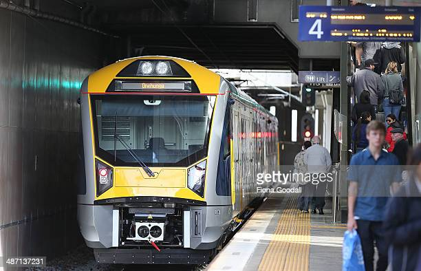 Passengers wait for Auckland Transport's new electric trains at Newmarket Station April 28 2014 in Auckland New Zealand The trains went into...