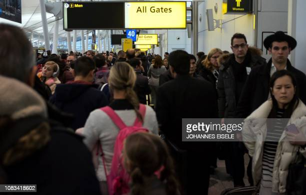 Passengers wait in a Transportation Security Administration line at JFK airport on January 17 2019 in New York City The longest government shutdown...