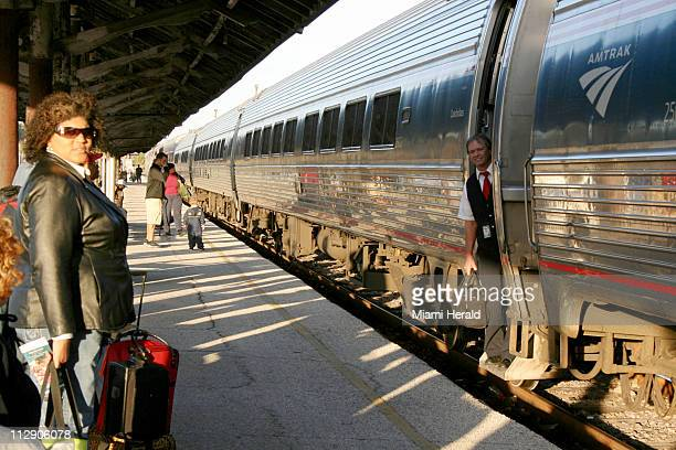 Passengers wait to board the Silver Star Amtrak in Tampa Florida