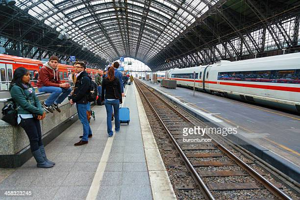 Passengers waiting for the train at Cologne Central Station