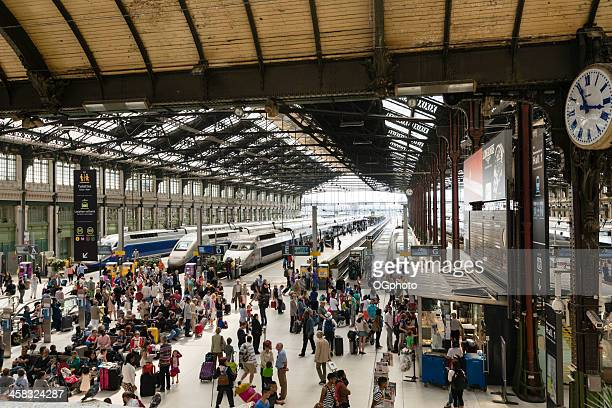 Passengers waiting for trains at Gare de Lyon Station