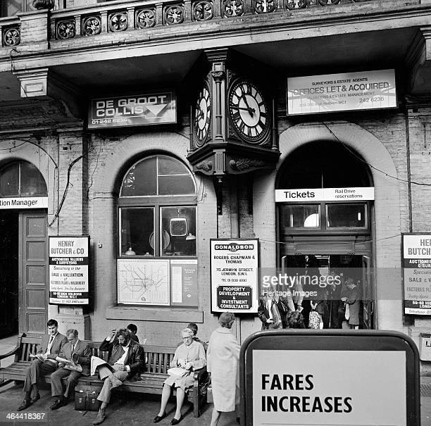 Passengers waiting outside the ticket office Charing Cross Station London 1970 The exterior of the station showing the entrance to the ticket office...