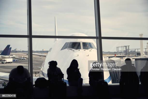 Passengers waiting to board their flight