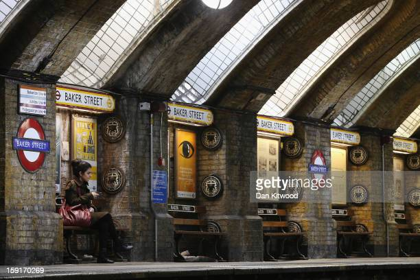 A passengers waits for a train at Baker Street Underground Station on January 9 2013 in London England The London Underground commonly called the...