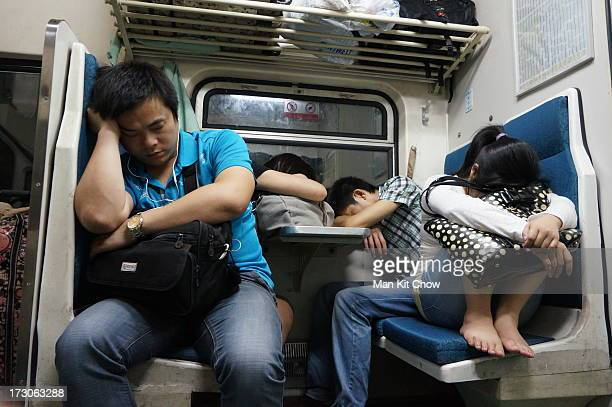 CONTENT] Passengers was sleeping in different styles on a train during an overnight trip from Shenzhen to Chengde This photo was shoot when the train...