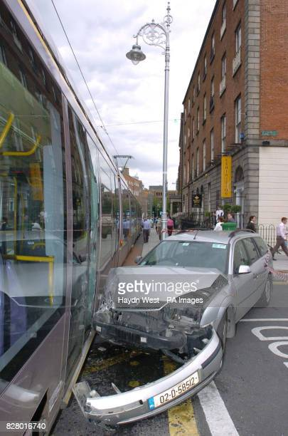 Passengers were evacuated from a Luas tram after another crash involving a car. The tram was packed with passengers as it travelled from St Stephen's...