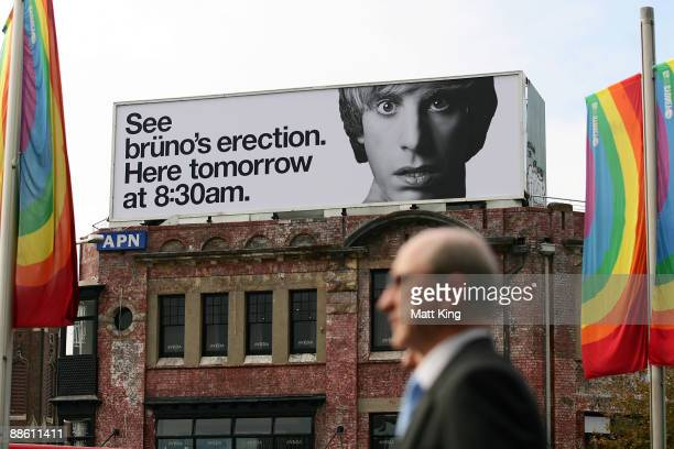 A passerby walks past a billboard advertising actor Sacha Baron Cohen's new film 'Bruno' at Taylor Square Oxford Street on June 22 2009 in Sydney...