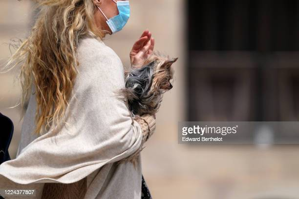 Passerby wears a white wool cape, a blue face mask, holds a pet dog, in the streets of Paris, on May 11, 2020 in Paris, France.