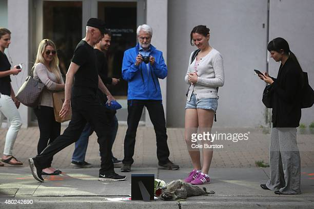 Passerbys look at a memorial at the corner of Church and Yonge for a dead raccoon The dead raccoon has spawned its own hashtag #DeadRaccoonTO