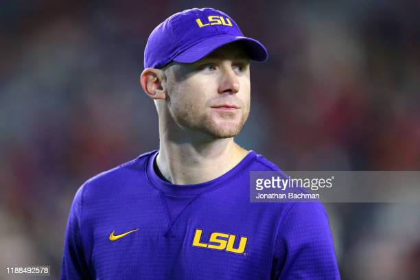 Passing coordinator Joe Brady of the LSU Tigers reacts during a game against the Mississippi Rebels at VaughtHemingway Stadium on November 16 2019 in...