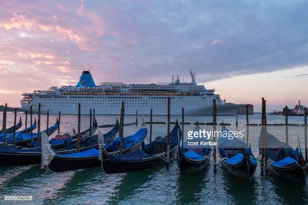 Passing cruise ship near San Marco, Venice, Italy