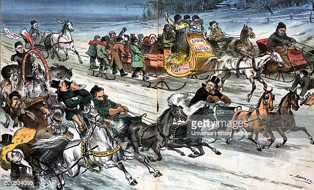 Passing everything on the road by Joseph Ferdinand Keppler 18381894 Published 1884 shows a street on a winter's day crowded with horsedrawn sleighs...