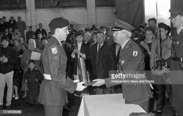 Passing Out Parade of the 2nd Field Artillery Regiment at McKee Barracks Private Jimmy Lynch who won the Best Soldier award