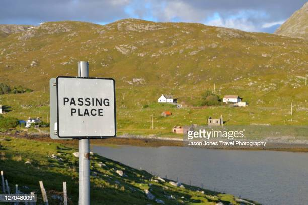 a passing place roadsign near a lock on harris - 待避所標識 ストックフォトと画像